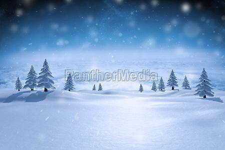 imagen compuesta de paisaje nevado